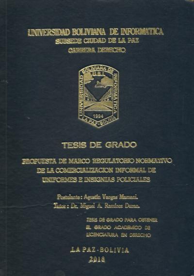 Propuesta de marco regulatorio normativo de la comercialización informal de uniformes e insignias policiales